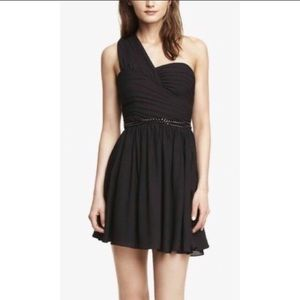 NEW Express One Shoulder Dress Black Size 8 NWT